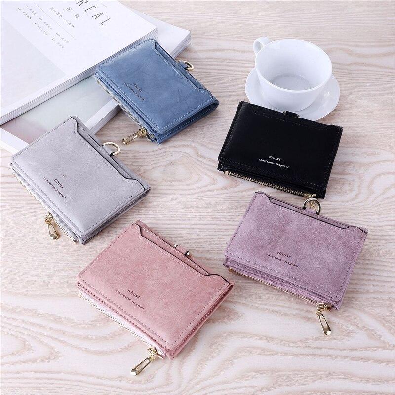 Image 5 - WESTERN AUSPICIOUS Purse Female Purple/pink/gray/blue/black Wallet Femal PU Leather Bank/ID/Credit Card Holder Wallet Women 2020Wallets   -