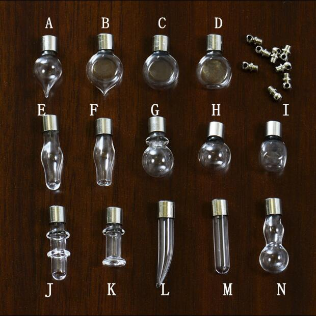 500pcs lot mixed SCREW CAP glass vial pendant Miniature Wishing Bottle clear oil charm name or