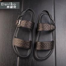 Sandalias de cuero de verano que hace punto masculino tendencia Británica romance sandalias ocasionales respirables antideslizantes zapatos de las sandalias sandalias de los hombres RL309