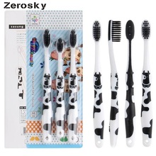 Zerosky 3PCS Cheap Kids Baby Toddler Cute Cow Bamboo Charcoal Soft Toothbrush Oral Dental Care