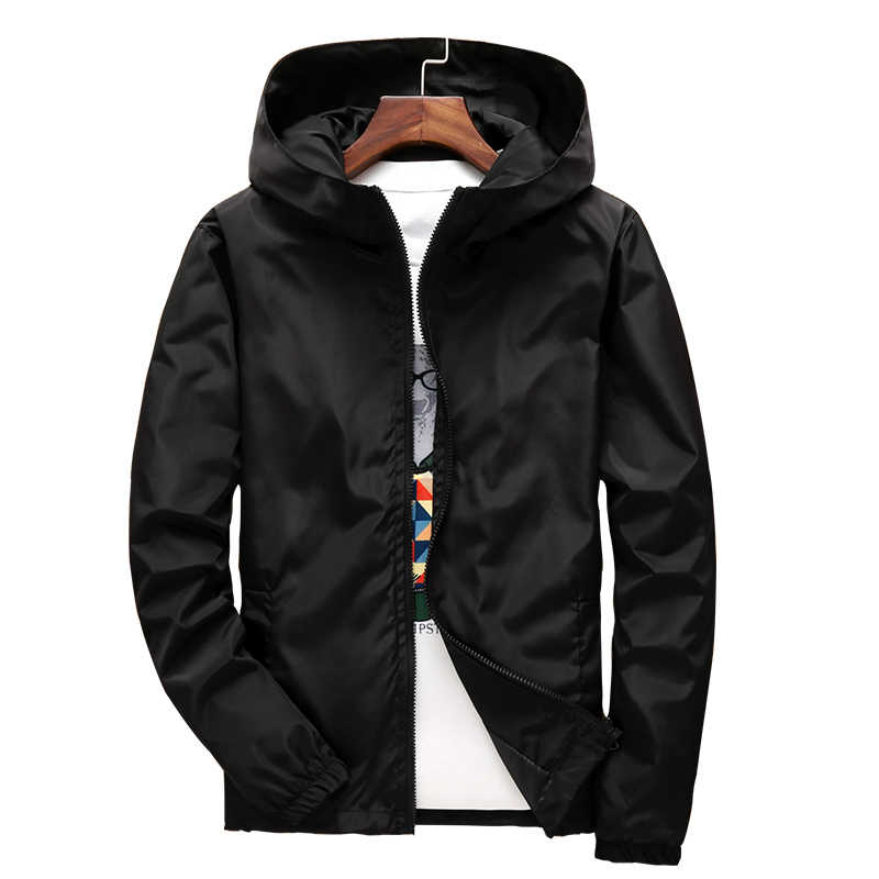 2018 automne décontracté vestes à glissière Slim Fit coupe-vent à capuche vestes couleur unie bleu noir manteau d'extérieur grande taille 7XL