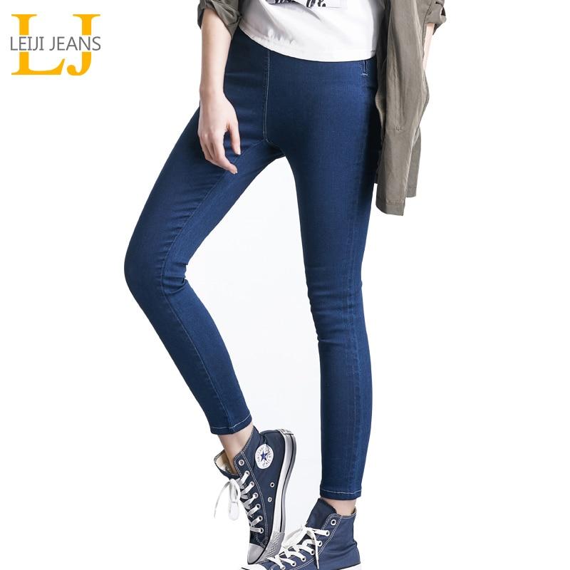 LEIJI אופנה ג 'ינס 4 צבעים עם מותניים גבוהה מותניים אלסטי מותניים נקבה למתוח ג' ינס פלוס גודל רזה עיפרון נשים ג 'ינס