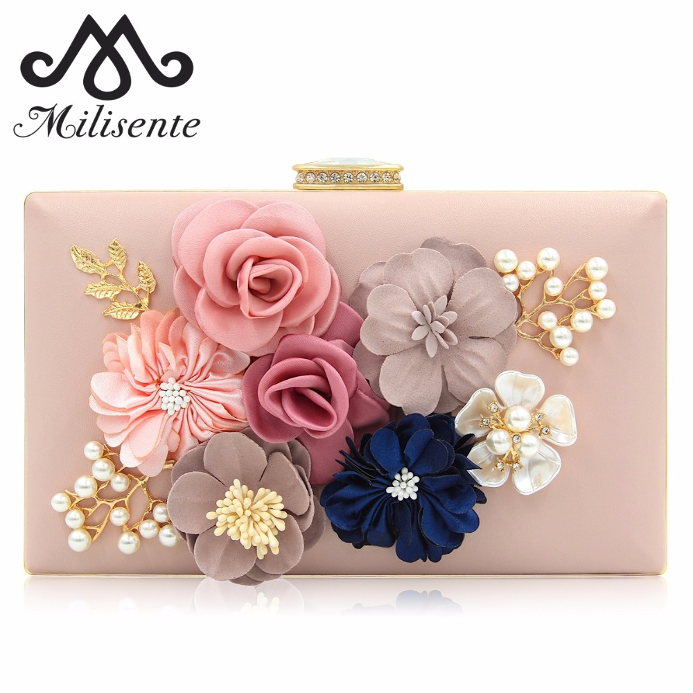 Milisente Clutches Bag for Women Flower Clutch Bride Wedding Bags with Rhinestone Pearl Shoulder Chain Pink(China)