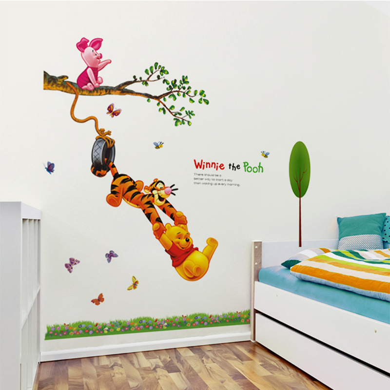Cartoon Winnie the Pooh butterfly PVC wall stickers for kids rooms boys girl Children home decor wall decals home decoration