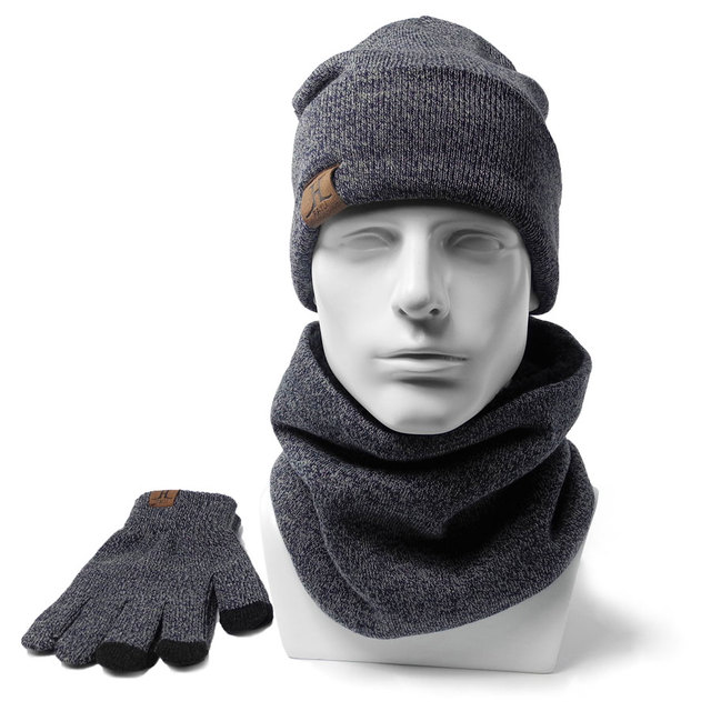 Men Winter Beanies Scarves Gloves 3 Pieces 1 set Cotton Knitted Women s  fashion Winter Accessories Thermal Hat Scarf Set d3c372525b86