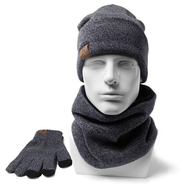 Pria Musim Dingin Beanies Syal Sarung Tangan 3 Pieces 1 set Katun Rajutan  wanita fashion Aksesoris 6cd4beab0b