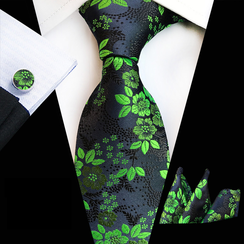 Green Classic Silk Ties Sets