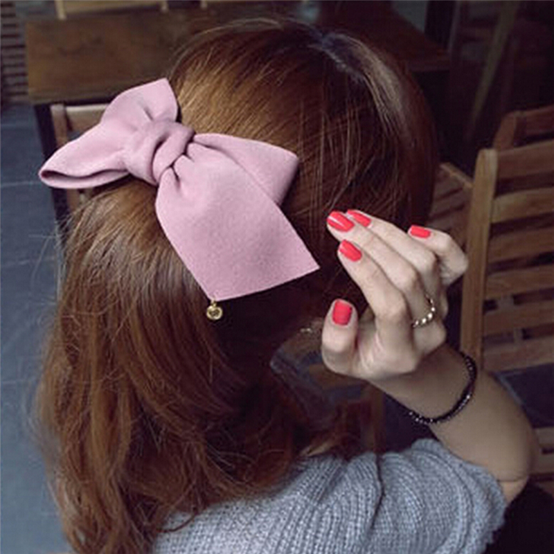 New Fashion Arrival Big Solid Cloth Bows Hair Clips Hairpins Hair Accessories for Women Girl Wedding Hair Jewelry Headwear