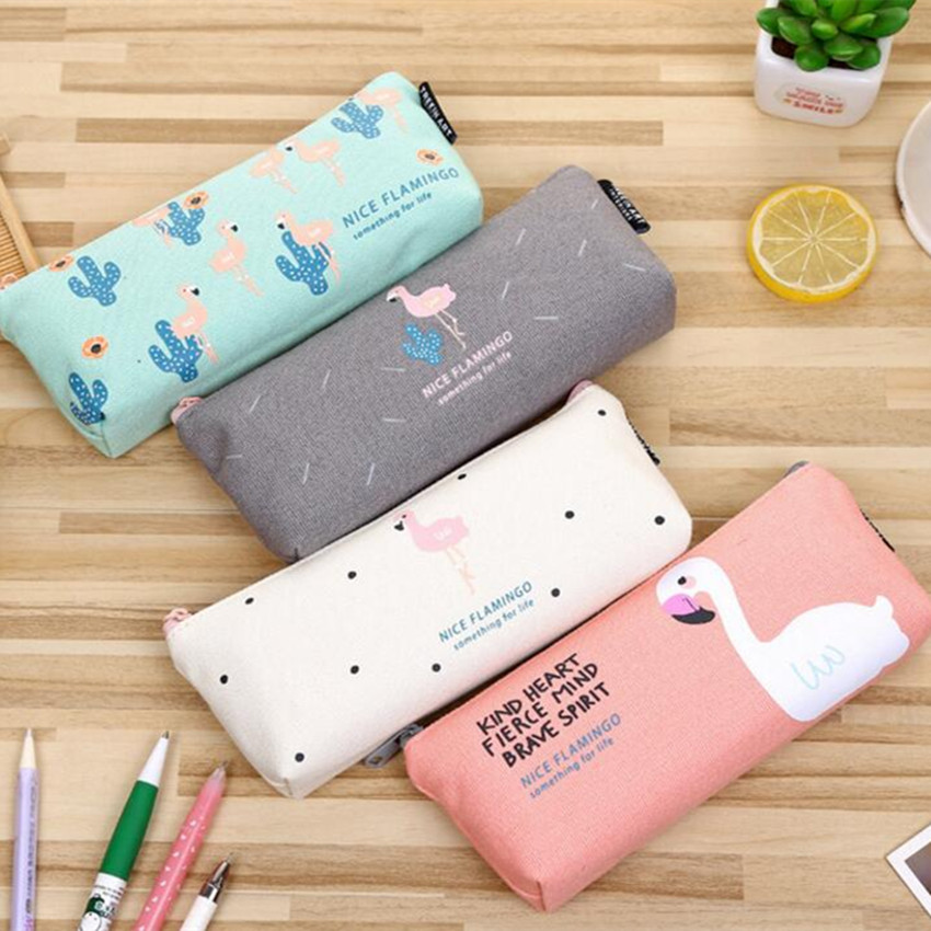 M172 2017 New Women Purses Small Fresh And Lovely Pen Pen Stationery Bag Creative Flamingo Personality Pen Bag Gifts Wholesale