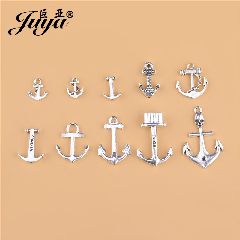 20pcs/lot Zinc Alloy Anchor Charms Pendant Antique Silver Jewelry For Bracelet Necklace Making Accessories DIY Handmade Crafts