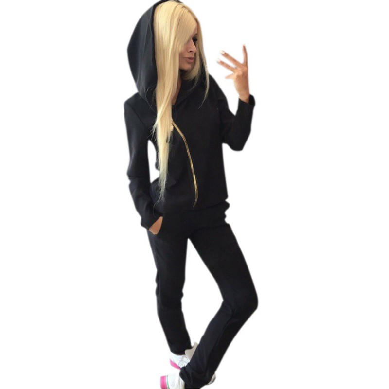 2017 Autumn New 2PCS Women Set Solid Colors Sweat Hooded Shirts Zip Long Sleeve Loose Hoodie+Casual Long Pant
