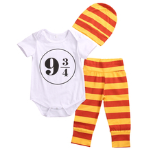 3pcs Newborn Baby Girl Boy Clothes Harry Potter Costume Outfits 0-18M Romper+Leggings+Hat Toddler Kids Clothing Set(China (Mainland))