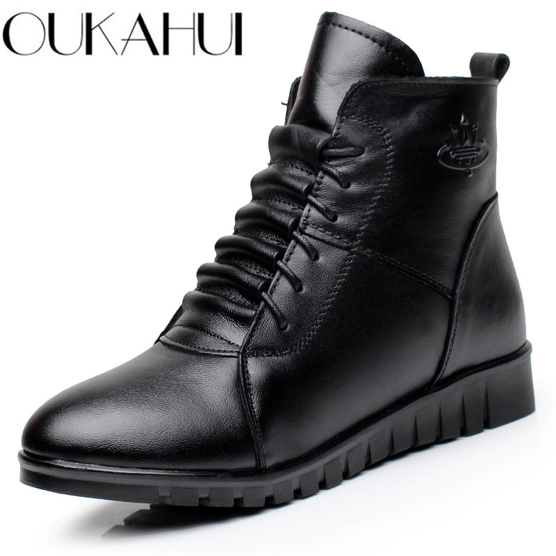 OUKAHUI Genuine Leather Winter Boots Women Warm With Fleeces Soft Flat Heel Ankle Boots For Women Winter Shoes Lace-Up Boots New salu 2018 new genuine leather women ankle boots lace up sexy women shoes platform flat high heel winter shoes women boots