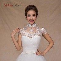 Vivian's Bride White Wedding Dress Shawl Elegant Applique Drill Women Wedding Accessories Fashion Yarn Tassels Shawl Bridal Cape