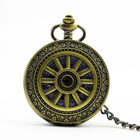 Classic Retro Wheel Hollow Machanical Watches Necklace Clamshell Male Women Creative Pocket Watch PJX1106