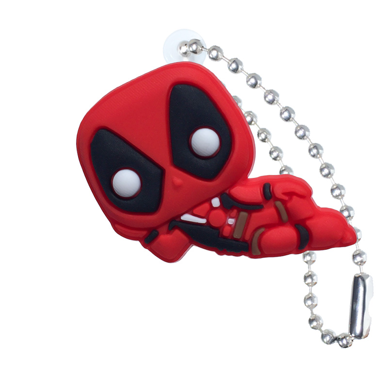1PCS Deadpool Keychain Organizer Key Holder Cartoon Figure Key Ring Children DIY Bag Clothes Decor Party Gifts