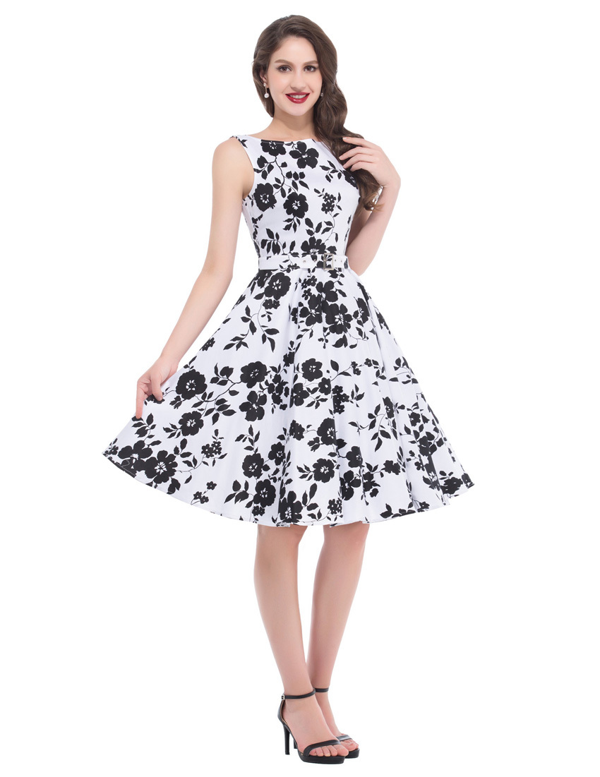 Rockabilly Dress Robe Femme Belle Poque Retro Pinup Swing Short ...