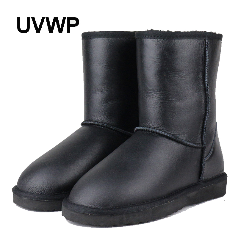 UVWP Top Quality Genuine Sheepskin Leather Snow Boots for Women Waterproof Winter Boots 100 Natural Fur