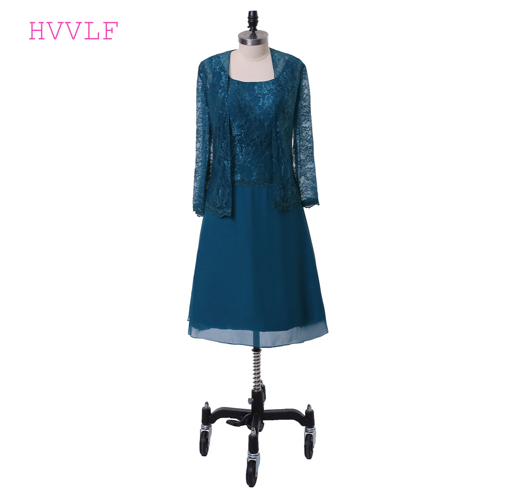 Dark Blue Mother Of The Bride Dresses A-line Chiffon Lace With Jacket Plus Size Groom Mother Dresses For Weddings