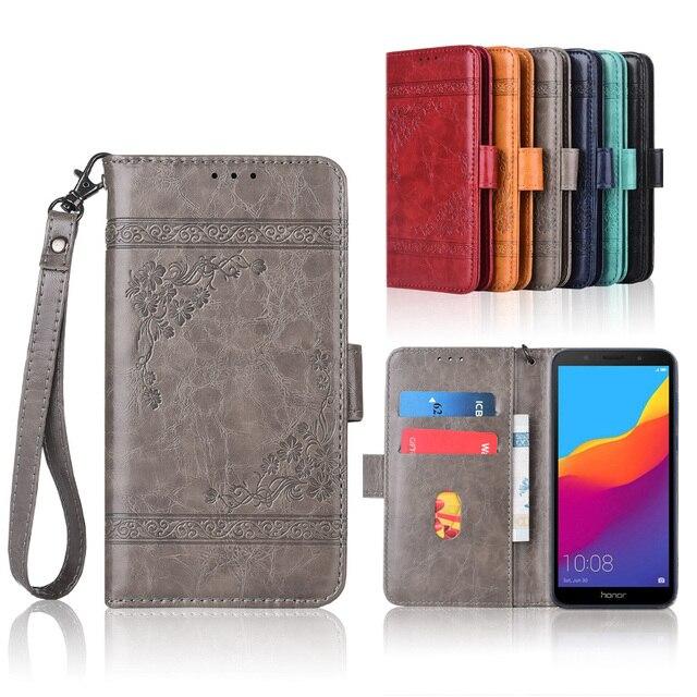 ТПУ бумажник чехол для huawei Honor 7A 5,45 ''Флип с ремешком, 100% специальная искусственная кожа pu тиснение цветок обложка книги