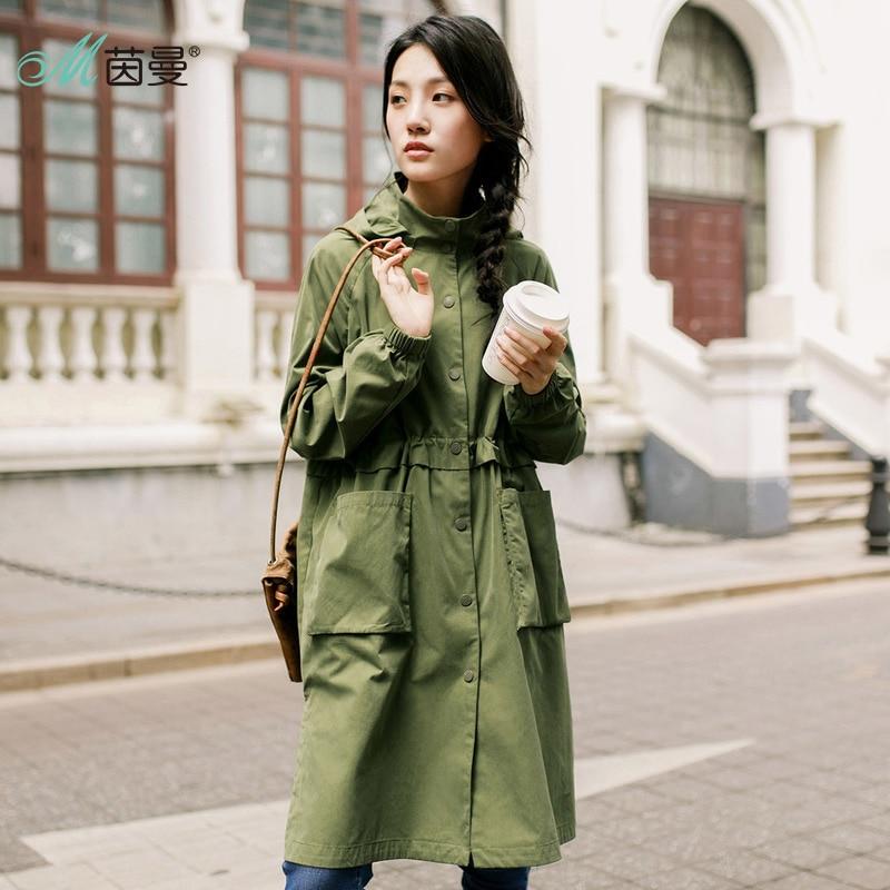 INMAN kobiet 2019 jesień z kapturem kieszeń pojedyncze łuszcz sukienka płaszcz długi wykop cienki płaszcz w Trencze od Odzież damska na  Grupa 2