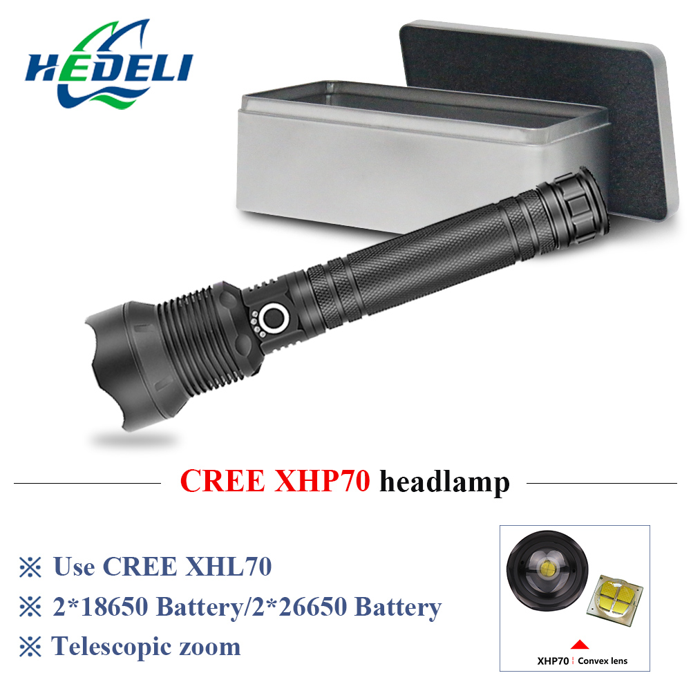 Powerful Flashlight Searchlight Hunting Flashlight Rechargeable Cree Xhp50 Zoom Torch 2*18650 Camping Led Lantern Lampe Torche Led Flashlights