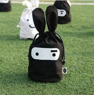 Storage Bags Ninja Rabbit Objects Travel Pouch Handy 24*22cm Snack Many Facial Pouch Black And White