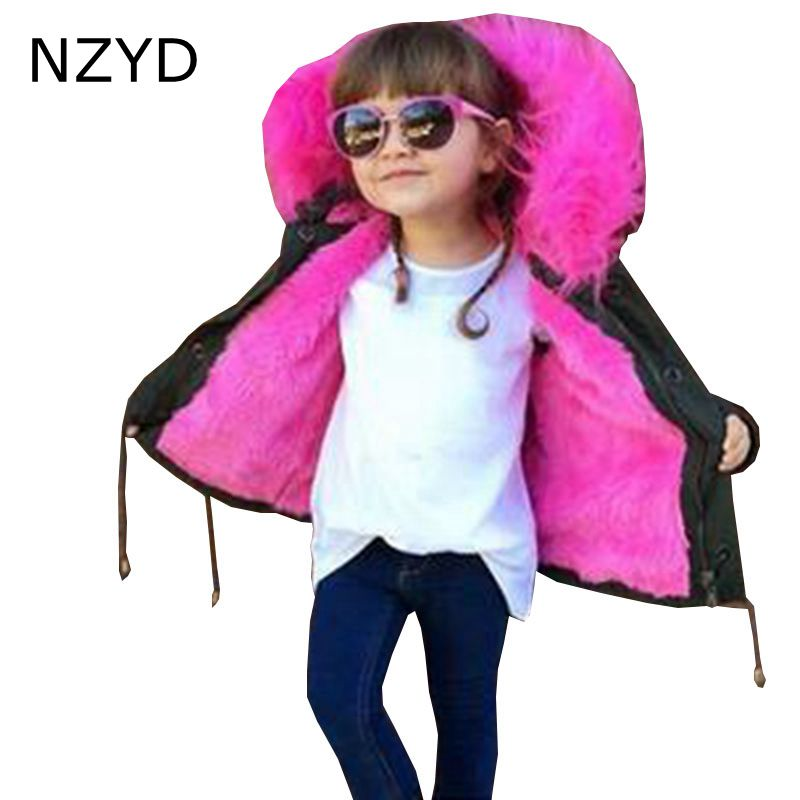 New Fashion Winter Cotton-Padded Clothes Boy Girls Coat 2017 Children Thicken Fur Jacket Coat Casual Warm Kids Clothes DC629 boys winter jacket cotton padded fur collar hooded long kids outerwear coat thicken warm boy winter coat children clothing