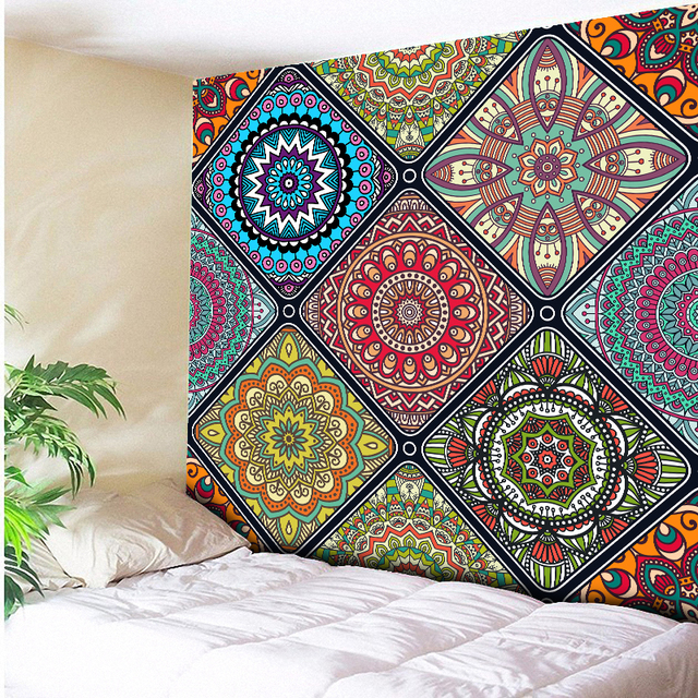 plus size multicolor beautiful mandala tapestry wall hanging beach towelhome decor tapestries living room - Bedroom Tapestry