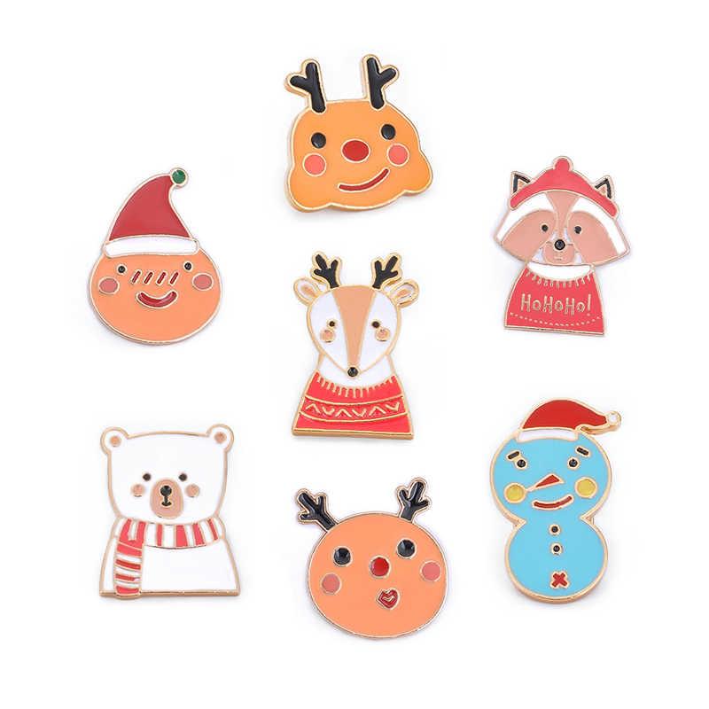 Мультфильм милый Рождественский значок брошь животное олень Олень Медведь Санта Клаус Снеговик эмаль булавки для женщин броши на куртки сумка Pin подарок
