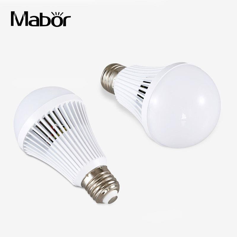 LED Bulb E27 Bright Intelligent Emergency 9W Lamp Light Bulb Rechargeable Lamps White