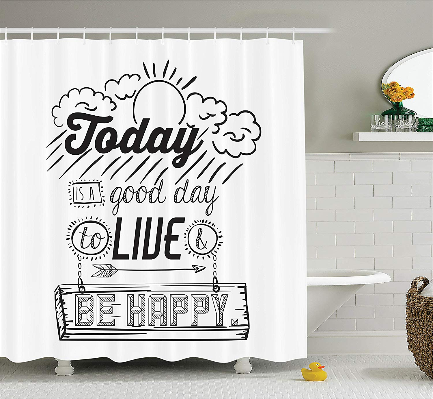 Quote Shower Curtain Funny by Today is a Good Day to Live Be Happy Enjoy Reminding Gratitude Inspire Vision Image image
