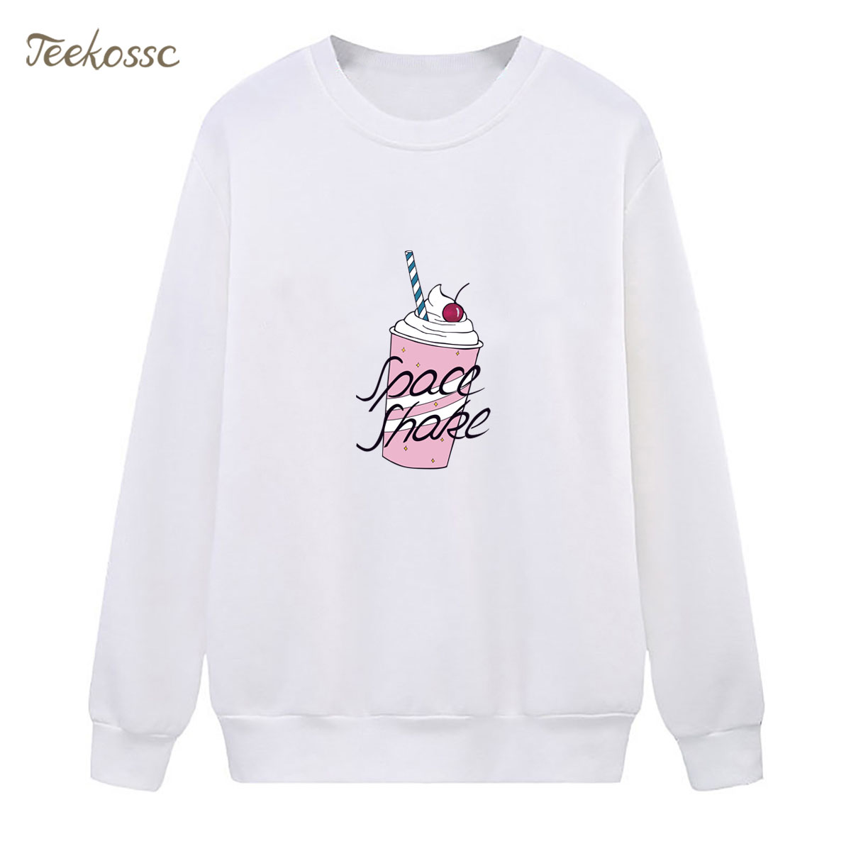 Berkeley Chips Ice Cream Sweatshirt Pink Cute Hoodie 2018 New Winter Autumn Women Lasdies Pullover Fleece Warm Loose Streetwear