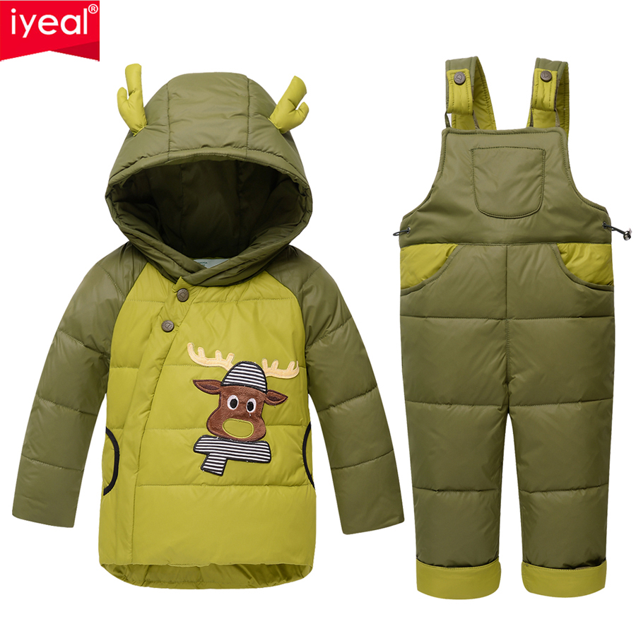 IYEAL Winter Down Jackets For Boys Girls Kids Snowsuit Children Clothes Warm Jacket Overalls Baby Clothing Set Outerwear Coat 2017 new baby down coat set winter warm thick cartoon down jacket set fashion outerwear for boys girls kids clothes set