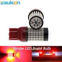 2pcs T20 7443 W21 5W Red Flash Strobe Rear Safe Alert Brake Tail Stop LED Lights