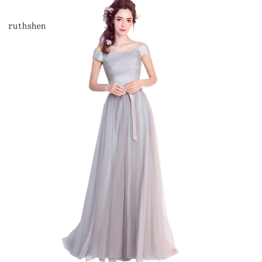 ruthshen Gray   Bridesmaid     Dresses   Long Cheap Off Shoulder Pleated Ruched Tulle 2018 New Wedding Guest   Dress   Real Photo