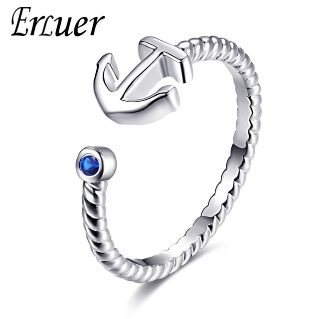 ERLUER Adjustable Anchor ring for women love Jewelry Girls Party wedding bague Trendy anillo Fashion silver Rings