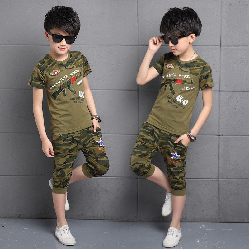 summer camouflage sports suits for boys clothing sets children clothes o-neck tracksuits short sleeve t-shirts & half pants 3-10  summer t shirts for boys cotton kids shirts dinosaur short sleeve pullover clothes v neck boy t shirt fashion children clothing