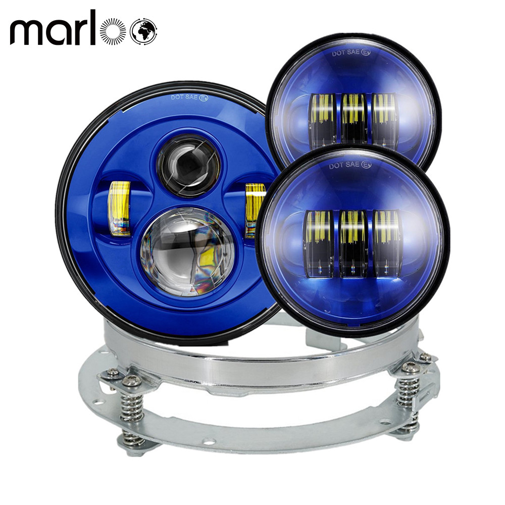 Marloo 7 Inch Round Led Headlight + Mounting Bracket Ring + 4.5 Passing Fog Light Blue Set For Harley Davidson Daymaker Moto 7 daymaker hid led headlight mounting ring bracket for harley touring 1994 2013