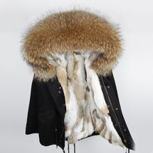 2018 Fashion army green woman Large raccoon fur collar hooded coat parkas outwear detachable rabbit