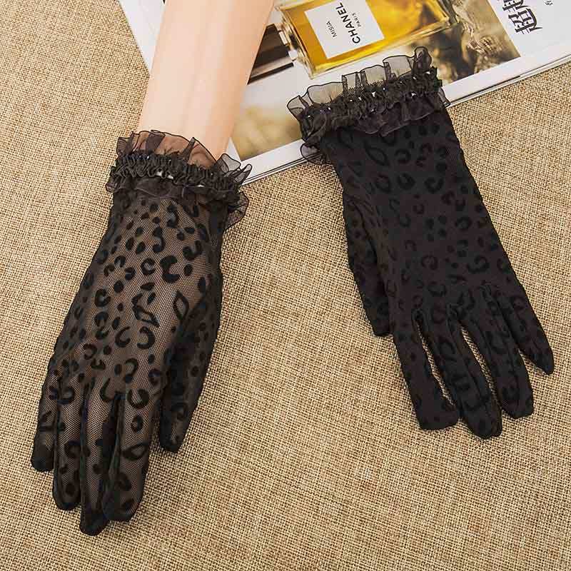 Fashion Summer Women Gloves Lace Sunscreen Gloves Uv Protection Breathable Leopard Black Mitten Ladies Dance Driving Gloves