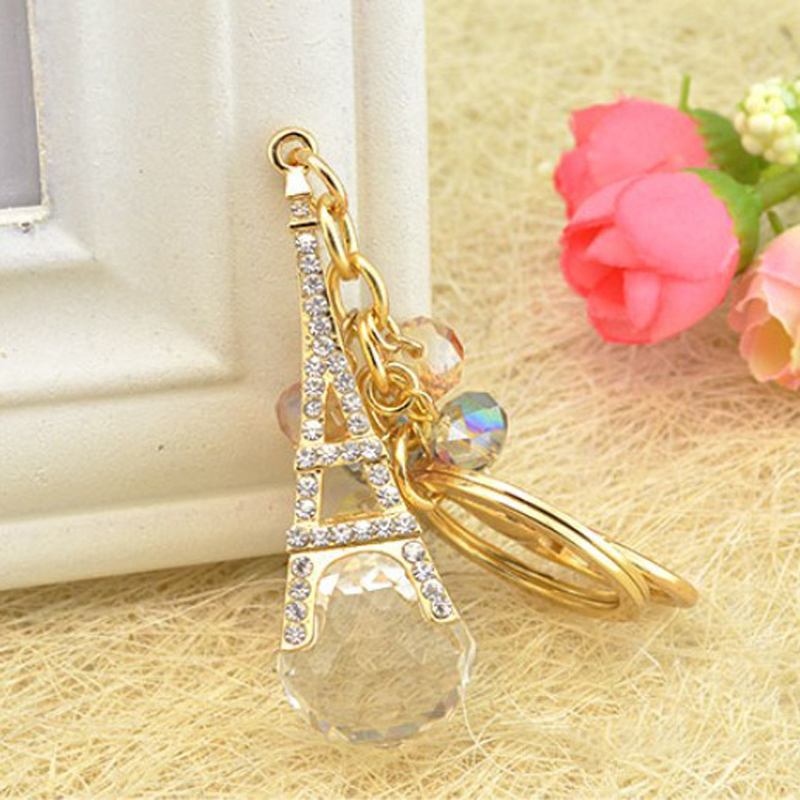 Key Holder Bag Charm Purse Chain Roses Flower Crystals Luxury Rhinestone Clover