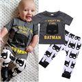 2 Unids Bebés Batman Ropa de Recién Nacido Bebé Historieta de Los Muchachos de la Ropa Trajes Trajes Camiseta Top Pantalones Ropa