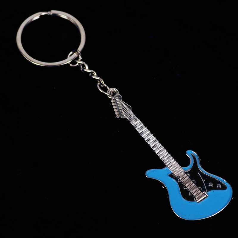 Новый дизайн классический гитары брелок для ключей Автомобильный ключ брелок Музыкальные инструменты Серебряный кулон для мужчин для женщин подарок оптовая продажа