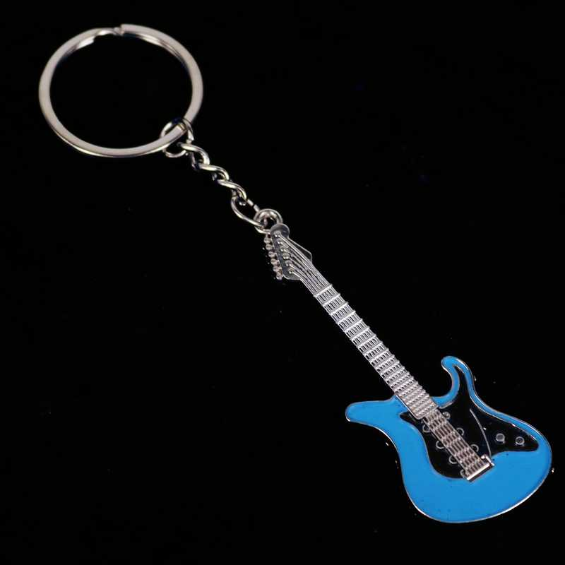 Novo Design Clássico Guitarra Carro Chaveiro Chave Anel Chave Da Cadeia de Instrumentos Musicais pingente de prata For Man Mulheres Presente atacado