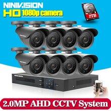 Gorący, System 8CH AHD CCTV DVR 2.0MP Odkryty Wodoodporny System Kamer CCTV Kit 8 Kanał Wideo Nadzoru Kamera HDMI 1080 P Zestaw