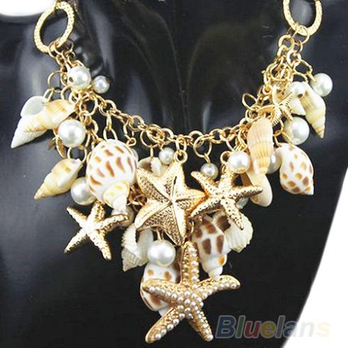 New Hot Gold Chunky Tone Sea Shell Starfish Faux Pearl Bib Statement Necklace FlfeXptEuc
