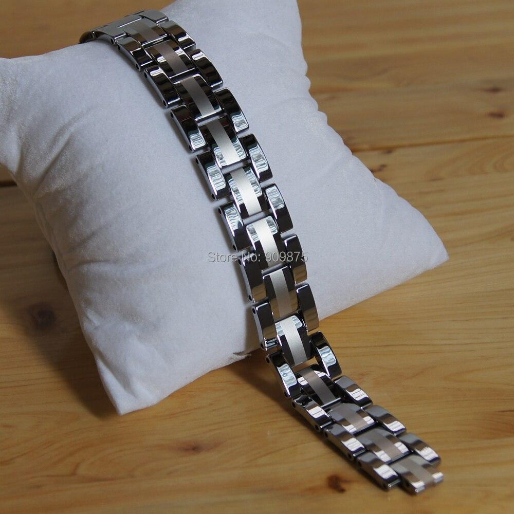 vary length adjustable 16mm classic Men jewelry 2tone shiny brush heavy hi tech scratch proof tungsten