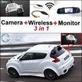 3 in1 Especial Câmera de Visão Traseira Sem Fio + Receptor + Espelho Monitor de DIY Fácil Sistema de Back Up de Estacionamento Para Nissan JUKE 2011 ~ 2015