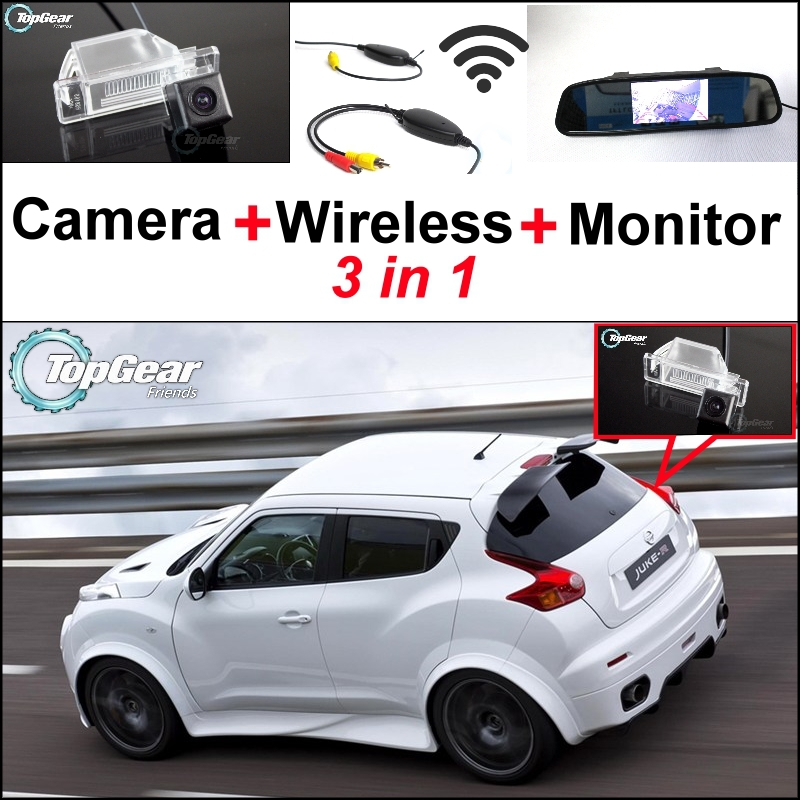 3 in1 Special Rear View Camera + Wireless Receiver + Mirror Monitor Easy DIY Back Up Parking System For Nissan JUKE 2011~2015 for ford escape maverick mariner car parking sensors rear view back up camera 2 in 1 visual alarm parking system
